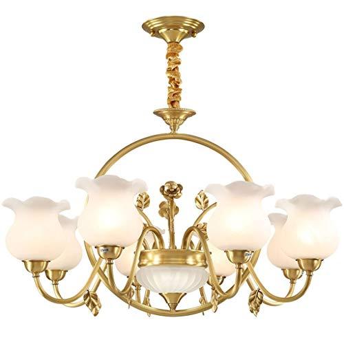 TQQ Iluminación colgante Lámpara Luz de techo Europea caliente creativo romántico personalidad simple de cobre 8 Cabeza de flor de la lámpara de iluminación Forma