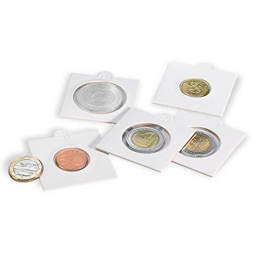 Leuchtturm Cartones de Monedas Matrix, Blanco, diámetro 17,5 mm, autoadhesivos, 100 Unidades