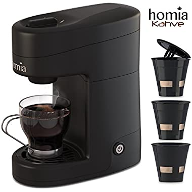 Coffee Maker Machine Single Serve - Electric Brewer for Ground Coffee, K-cup Сompatible, 12 oz