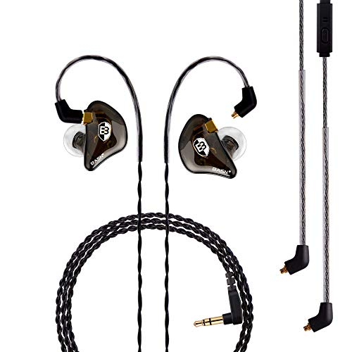 BASN Professional in Ear Monitor Headphones for Singers Drummers Musicians with MMCX Connector IEM Earphones (Pro Clear Brown)