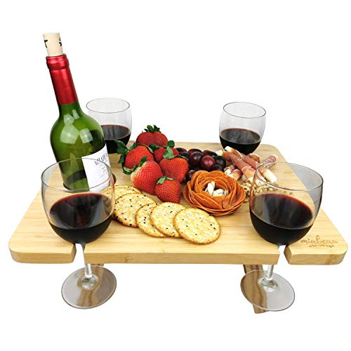 MIABEAU Portable Wine Picnic Table  Premium Natural Bamboo Folding Charcuterie Meat and Cheese Tray with Bottle and Four Glass Holder for Outdoors and Indoors with a Tote Carrier Bag Natural Color