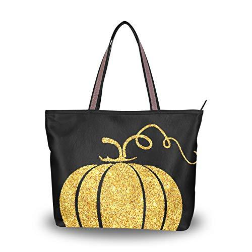 NaiiaN Bolso de compras para madres, mujeres, niñas, señoras, estudiantes, bolso de mano, bolsos de hombro, bolsos, correa ligera con calabaza dorada