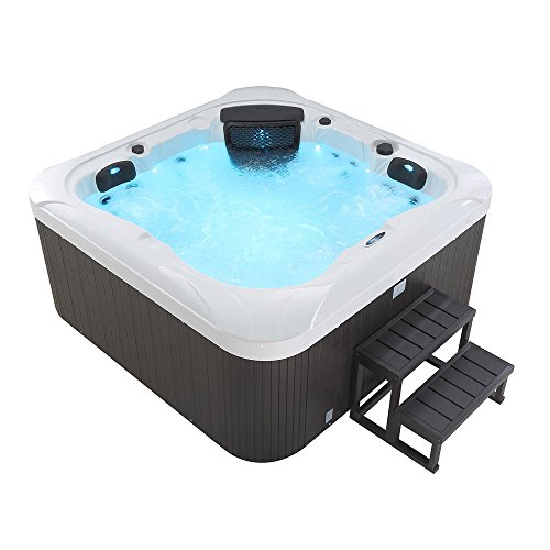 Supply24 Outdoor Whirlpool Dubai Farbe weiß Hot Tub mit Einstiegstreppe + 25 Massage Düsen + Heizung + Ozon Desinfektion + LED Beleuchtung für 4 Personen für Garten/Terrasse/Außen/Innen günstig