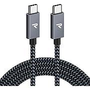 RAMPOW USB C auf USB C Kabel, USB 3.1, 2M, 60W 20V/3A PD Schnellladekabell mit Nylon Geflochtenes für MacBook Pro, iPad Pro, ChromeBook Pixel, Samsung, Huawei- Grau