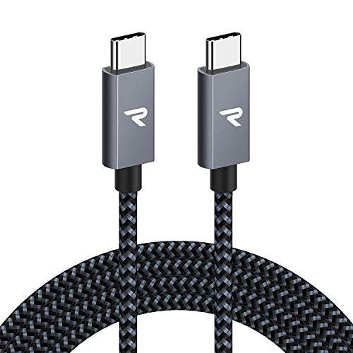 RAMPOW USB C auf USB C Kabel USB 31 2M 60W 20V3A PD Schnellladekabell mit Nylon Geflochtenes fur MacBook Pro iPad Pro ChromeBook Pixel Samsung Huawei Grau