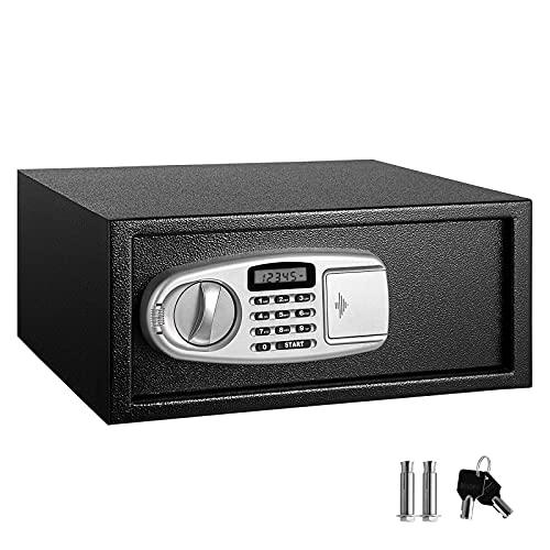 GQTYBZ Caja Fuerte Digital Antirrobo, Caja de Seguridad de Acero de Alta Seguridad para Almacenamiento con Teclado y Llaves Digitales, Se Puede Montar en La Pared o en El Piso 23 * 37 * 43 Cm (Negro)