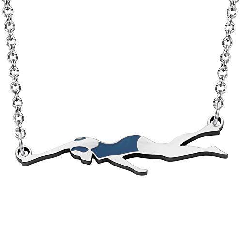 MYSOMY - Collana con ciondolo per nuotare e nuotare, idea regalo per amanti del nuoto e Acciaio inossidabile, colore: Argento