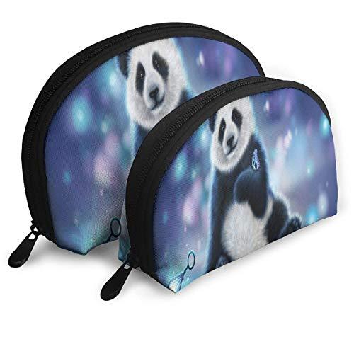Schminktäschchen Panda 3D Wallpapers Tragbare Shell Clutch Pouch für Mädchen Halloween Gift Pack - 2