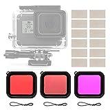 micros2u (4er Pack) Rot + Hellrot + Magenta Tauchlinsen-Filter-Set + Anti-Beschlag-Einsätze....