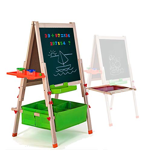 Gimilife Deluxe Easel for Kids, Folding Wooden Art Easel with Chalkboard, Whiteboard, and Storage Bins or Tray, Standing Easel with Magnetic Letters for Early Education (Wood, Fit for 3-14 Years Old)