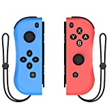 Kinvoca Joypad Controller for Nintendo Switch, Replacement for Switch Joycon with Wrist Strap, Alternatives for Nintendo Switch Controllers, Wired/Wireless Switch Remotes - Red and Blue with Grip