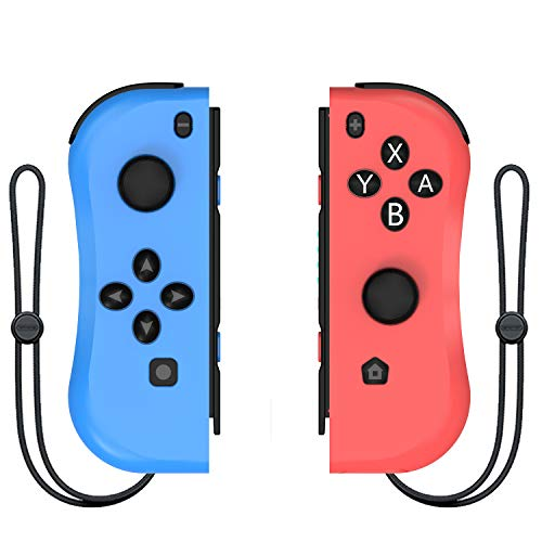 Kinvoca Joy Con Controller Replacement for Nintendo Switch, L/R Joycon Pad with Wrist Strap, Alternatives for Nintendo Switch Controllers, Wired/Wireless Switch Remotes - Red and Blue