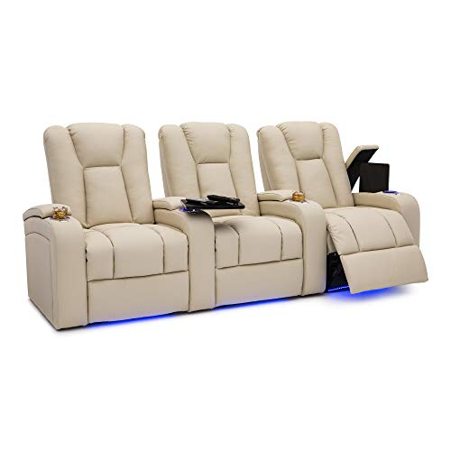 Seatcraft Serenity Leather Home Theater Seating - Power Recline - Tray Tables - in-Arm Storage - Ambient Base Lighting and Lighted Cupholders (Row of 3, Vanilla)