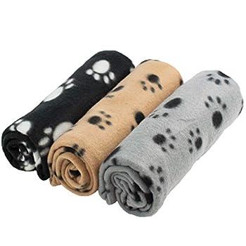 DIGIFLEX - Grandes couvertures en Peluche Douces pour Chiens, Chats, Lapins et Autres Animaux de Compagnie - Une Bonne Addition au lit de Votre Animal, Multicolore, 3 unités, 68 x 92 cm