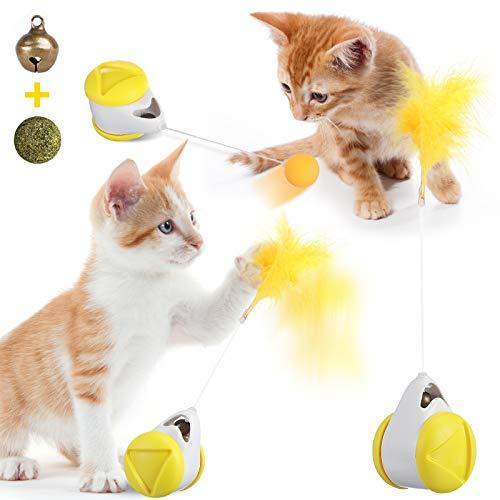 Giocattolo interattivo per gatti da interno con palla e piuma, giocattolo per gatto e gattino, con bastoncino di gatto