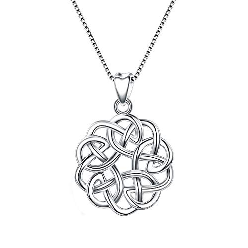 EVER FAITH 925 Sterling Silver Round Infinity Endless Love Celtic Knot Pendant Necklace for Women Girls