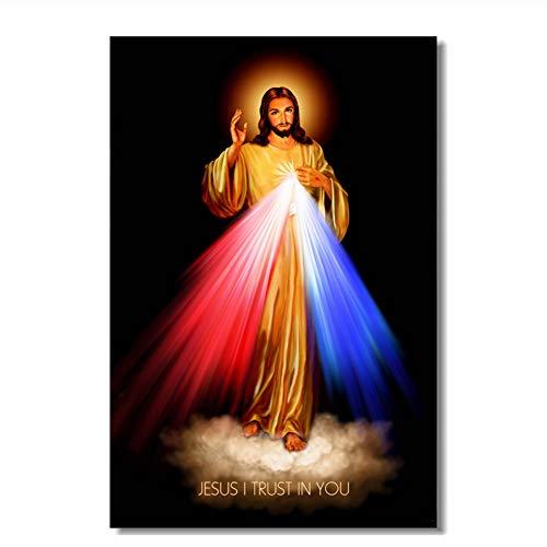 Sagrado Corazón de Jesucristo Cartel Divina Misericordia Arte de la Pared Lienzo Decoración de la Pared Mural Dormitorio de la Oficina Wallpaper-60x90cm Sin Marco