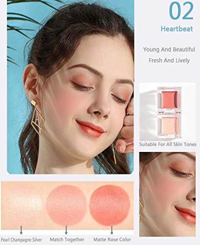 Ensemble de combinaison Ensemble de combinaison surligneur mini blush, outil de combinaison pour surligneur blush pour femmes, peut cacher les pores, la forme de la glace est facile transporter,Rouge