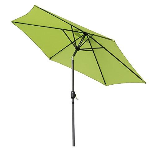 Angel Living 300cm Parasol de Aluminio con Inclinación, con Manivela, Sombrilla con Mástil de Aluminio de 38mm para Patio Terraza Playa (Manzana verde)