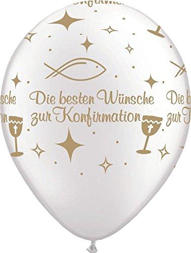 Qualatex Luftballons Die besten Wünsche zur KONFIRMATION, weiß/Gold, ca. 30 cm, 5 St.