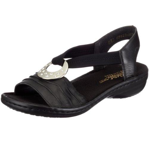 Rieker Damen 60823 Offene Sandalen mit Keilabsatz, Schwarz (schwarz/schwarz / 01), 40 EU