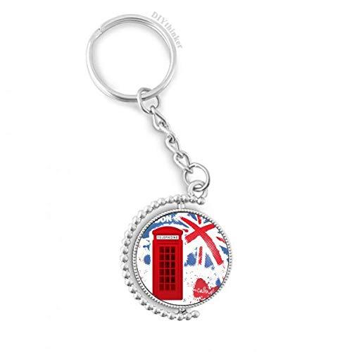 DIYthinker Men Britain UK Londen Vlag Rode Telefoon Booth Draaibare Sleutelhanger Ring Sleutelhouder 1,2 inch x 3,5 inch Multi kleuren