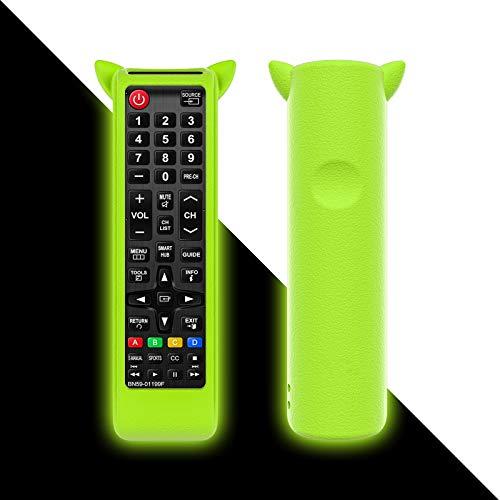 Funda universal antideslizante de silicona para Samsung 4K HD TV LED LCD Smart TV BN59-01175N, AA59-00666A, BN59-01199, AA59-00601A, AA59-00816A, BN59-01301A, con cordón de mano, color verde