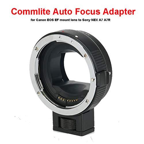 Elikliv Adattatore di messa a fuoco automatica Commlite per obiettivo Canon EOS EF Mount a Sony NEX A7 A7R