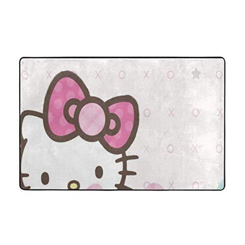 Alfombra antideslizante grande de Hello Kitty con dibujos animados para sala de estar, felpudos de 60 x 39 pulgadas