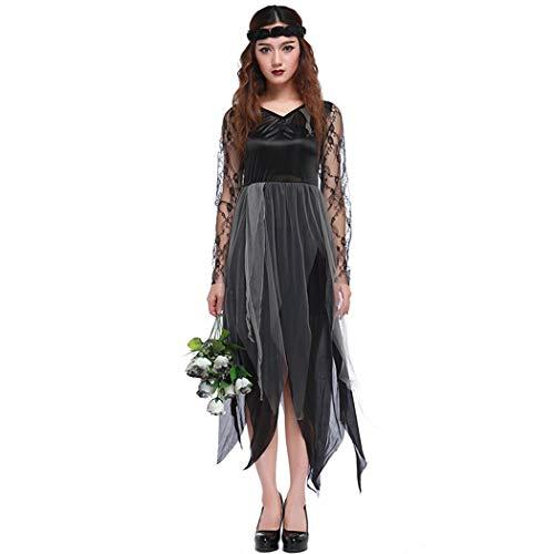 Jeff-chy Halloween kostuum Tulle Kant Geest Bruid spelen pak zwart grijs onregelmatige jurk Cosplay pak TV Movie Game Kostuum