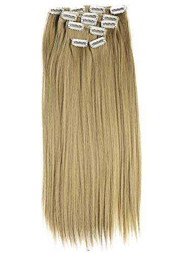 PRETTYSHOP XXL 50cm 8 teiliges SET Clip In Extensions Haarverlängerung Haarteil hitzebeständig glatt dunkelblond 25 CES106