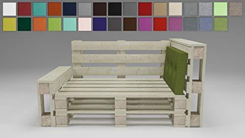 Rollmayer Palettenkissen mit Steppung Auflage für Europaletten Indoor und Outdoor Palettenpolster Kollektion Melange (Grün 333, Seitenkissen, 70x40x8cm)
