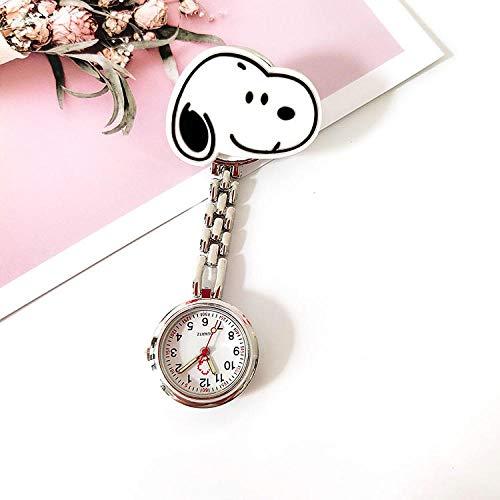 Reloj de Enfermera,Einfache Cartoon-Taschenuhr, medizinische Hängeuhr Clip-On-Uhr-Snoopy,Reloj Enfermera de Flor
