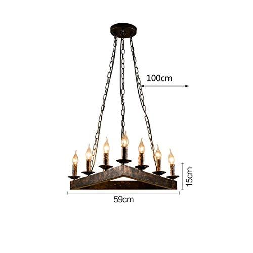 Driehoekige hanger, lamp, retro, vintage, hanglamp, industrieel design, hanger met 9 x E14, kroonluchter van ijzer, in hoogte verstelbaar, decoratieve verlichting, eettafel, eetkamer, bar,