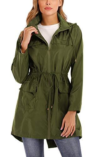 MISS MOLY Regenjacke Damen Windbreaker Wasserdicht Regenmantel Übergangsjacke Leichte Jacke mit Kapuze Grün X-Large