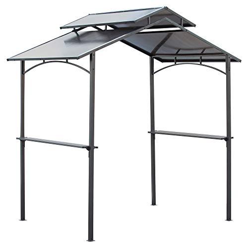 Outsunny Grillpavillon mit Flammschutzdach BBQ-Pavillon mit 2 Ablagen 2,5 x 1,5m Stahl PC Schwarz+Braun