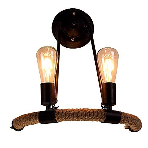 KMYX 2-Luces Industrial Vintage Retro Cuerda de cáñamo Lámpara de Pared Suspensión Forrada Hierro Metal Apliques de Pared Estilo Rural E27 Edison Corridor Pasillo Escalera Lámpara de Pared Dormitorio