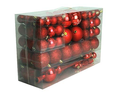Geschenkestadl 101 teilig Weihnachtskugel Herz Kugel mit Schneeflocke Christbaumspitze mit 100 Metallhaken Anhänger Baumschmuck Weihnachten (Rot)