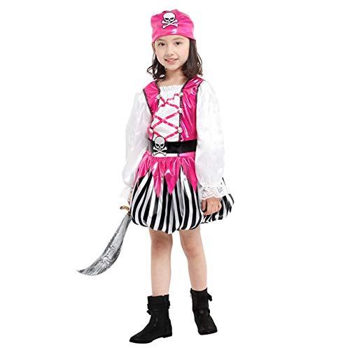 lkouq Halloween Pirata del Caribe Capitán Jack Sparrow Tricornio Disfraz De Cosplay para Niños Chica Party Cap Dress Up L G-0163