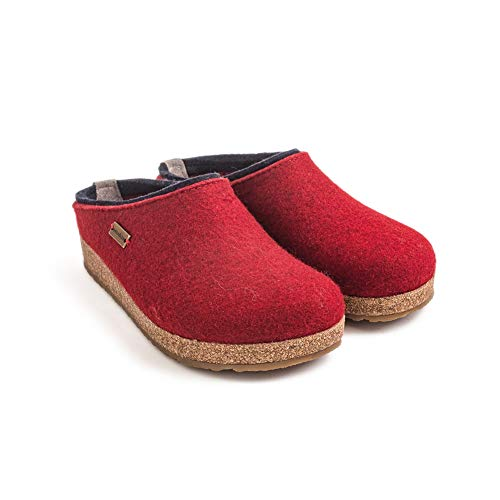 HAFLINGER Unisex Grizzly Kris Wool Clogs, Chili, 40EU