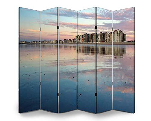 Wood Screen Room Divider beach in belgium, knokke pink clouds stock pictures, royalty free Folding Screen Canvas Privacy Partition Panels Dual-Sided Wall Divider Indoor Display Shelves 6 Panels