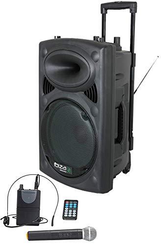 """IBIZA PORT15UHF-BT MOBILE BESCHALLUNGSANLAGE 15\"""" inkl. Mikrofon und Headset PA DJ-Anlage PA-Box Bluetooth Lautsprecher mit Fernebdienung (800W, Akku-Betrieb,USB/SD, Radio)"""