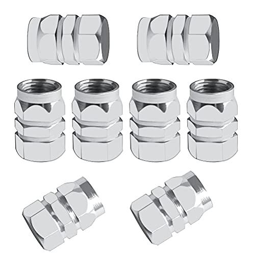 8 tapones de polvo plateados, tapas de aluminio para válvula de neumático, tapas hexagonales de válvula de repuesto para coches, bicicletas, motocicletas
