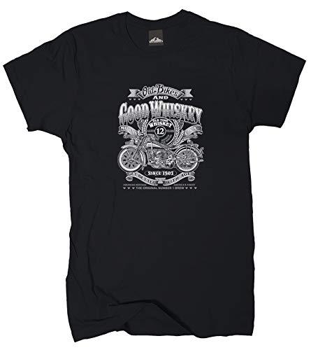 Wolkenbruch® T-Shirt Old Bikes and Good Whiskey, schwarz, Gr.M
