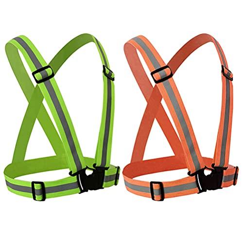 2 PCS chaleco de seguridad de alta visibilidad chaleco reflectante ajustable correas de chaleco de seguridad para exteriores, escuela, deporte, correr, andar en bicicleta, caminar, hombre mujer niño