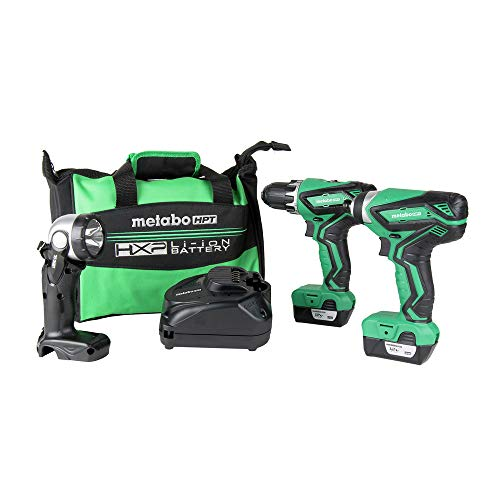 Metabo HPT KC10DFL2 12V Peak Cordless Combo Kit, Compact Driver Drill & Impact Driver, Includes 2 - 12V Lithium Ion Batteries, Flashlight, 40-Min Quick Charger & Carrying Bag, Lifetime Tool Warranty