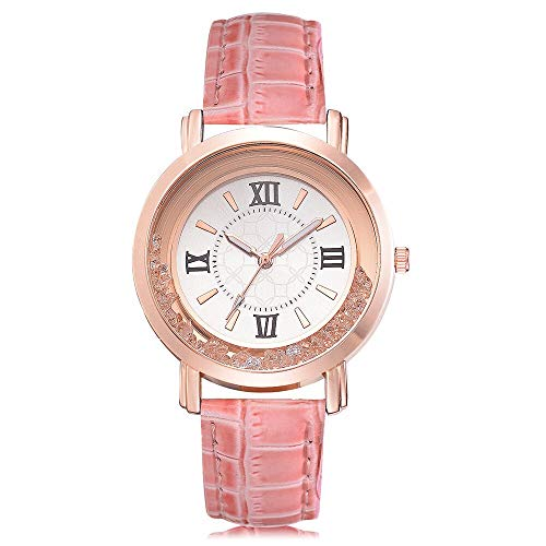 JZDH Relojes para Mujer Mujeres Moda Conjunto de Ocio Subgador Cuero de Acero Inoxidable Cuarzo Reloj de Pulsera Reloj de Reloj Reloj Relojes Decorativos Casuales para Niñas Damas