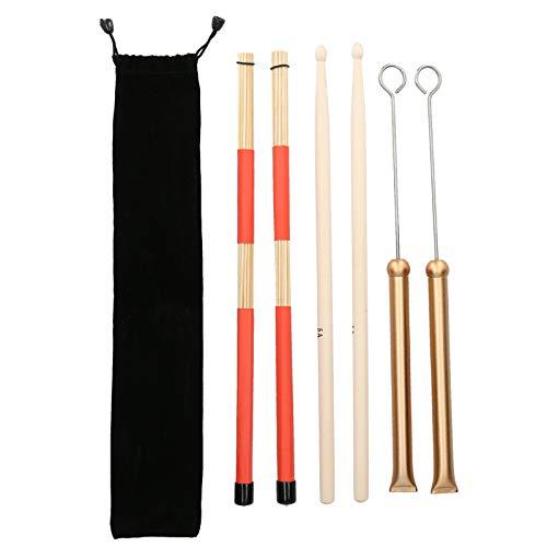 1 par de varillas de tambor 5A y 1 par de cepillos de varilla de tambor y 1 par de cepillos de alambre de tambor retráctiles con bolsa(Oro)