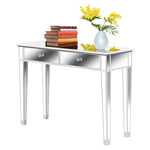 SSLine Mirrored Console Table Makeup Dressing Table,Modern Sofa Side Table Mirrored Desk Media Console Vanity Table with 2 Drawers,Entry Table for Home Office Entryway Hallway