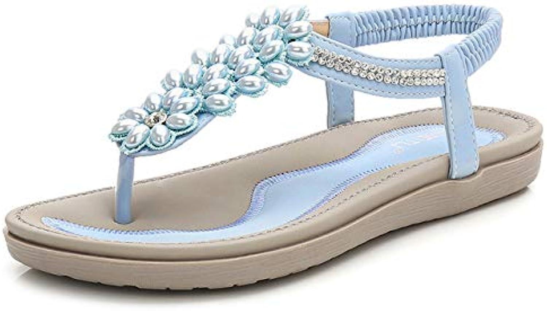 Women's Summer Sandals Open Toe Bohemia Low Flat Heel with Cross Bead Folk Sandals Boho Beach Flip Flops Elastic T-Strap Clip On Flat shoes